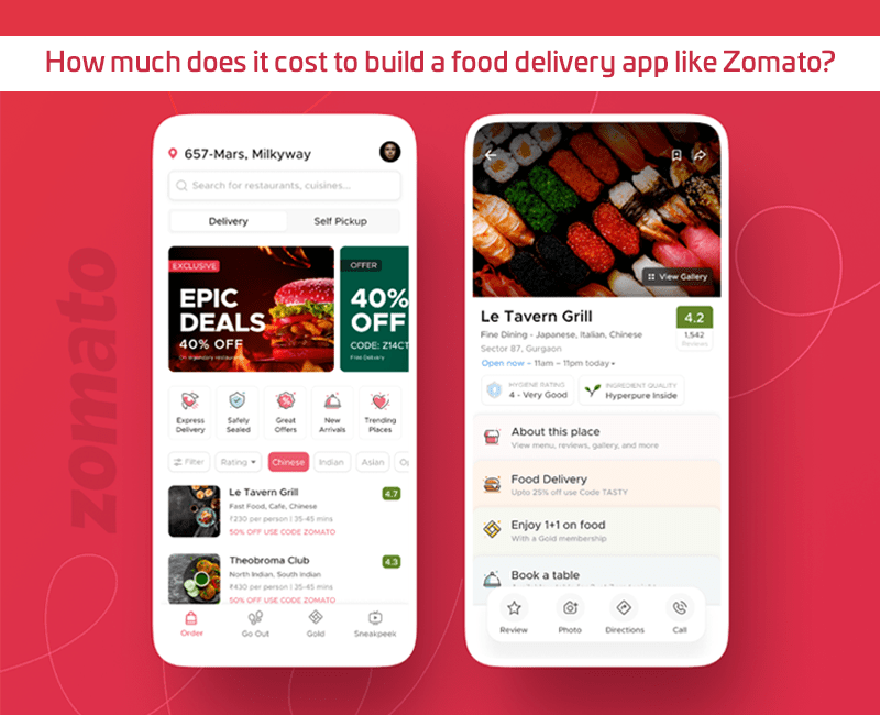 How much does it cost to build a food delivery app like Zomato